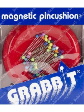Grabbit Magnetic Pin Cushion with 50 Plastic Pins